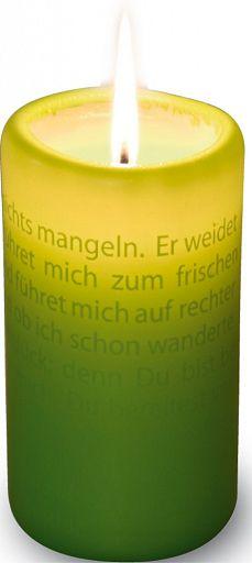 Textlicht-Kerze Psalm 23, grün