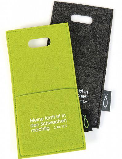 Filz-Ladetasche für Smartphone/Handy in grün oder grau