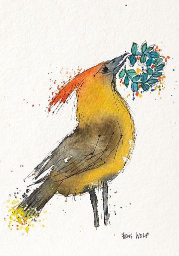 Kunstkarte Seidenschwanz