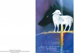 Klappkarte Wolf und Schaf