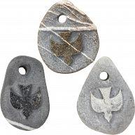 Stein Anhänger mit Gravur -  Taube