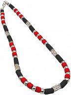 Kette, Halskette mit Perlen rot/schwarz